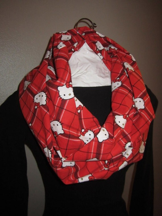 hello infinity scarf with plaid by