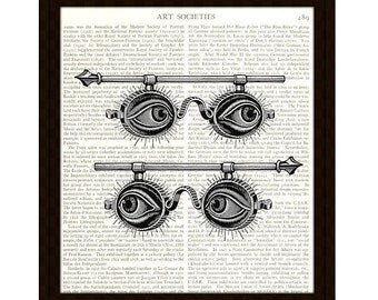 Steampunk Dictionary Art Print, 8 x 10, Two Pairs of Spectacles, Optometry Collage, Upcycled Book Page, Home Decor, Ready to Frame, Item 190
