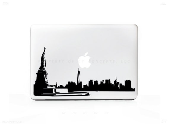 New York City Skyline 1 Sticker autocollant pour ordinateurs portables Mac - PC, iPad & iPhone Versions disponibles trop #100