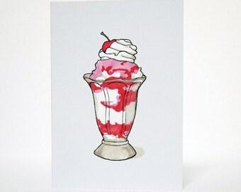 Ice Cream Sundae - Blank A6 Greetings Card