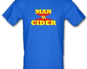 MAN v CIDER Man Versus Food Inspired Funny Gildan Heavy Cotton t-shirt All Sizes Small - XXL