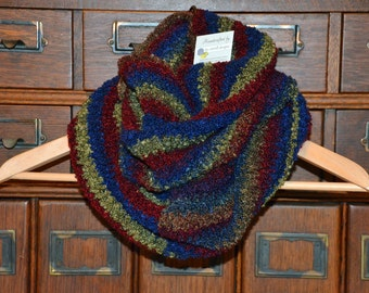 Crocheted Infinity Scarf - Blue, Green, and Burgundy Stripes