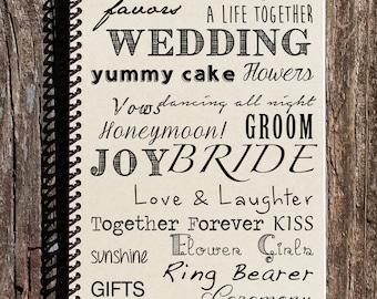 Wedding Journal  - Wedding Notebook - Wedding Word Mash - Gift for Bride - Bridal Shower Gift - Bride to Be