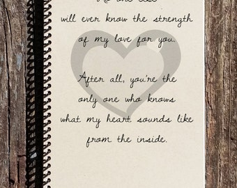 New Baby Journal - New Baby Notebook - Pregnancy Journal - What My Heart Sounds Like From the Inside