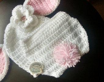 Crochet Baby Rabbit Hat & Diaper cover