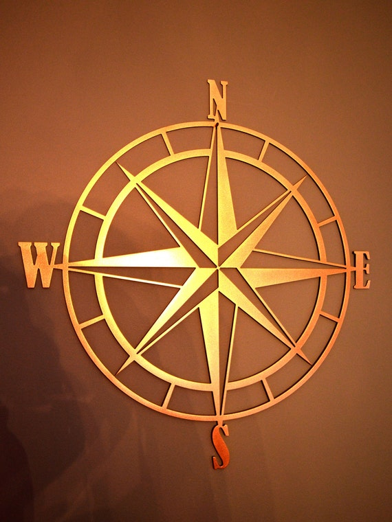 nautical compass rose metal wall art by custommetalworx on