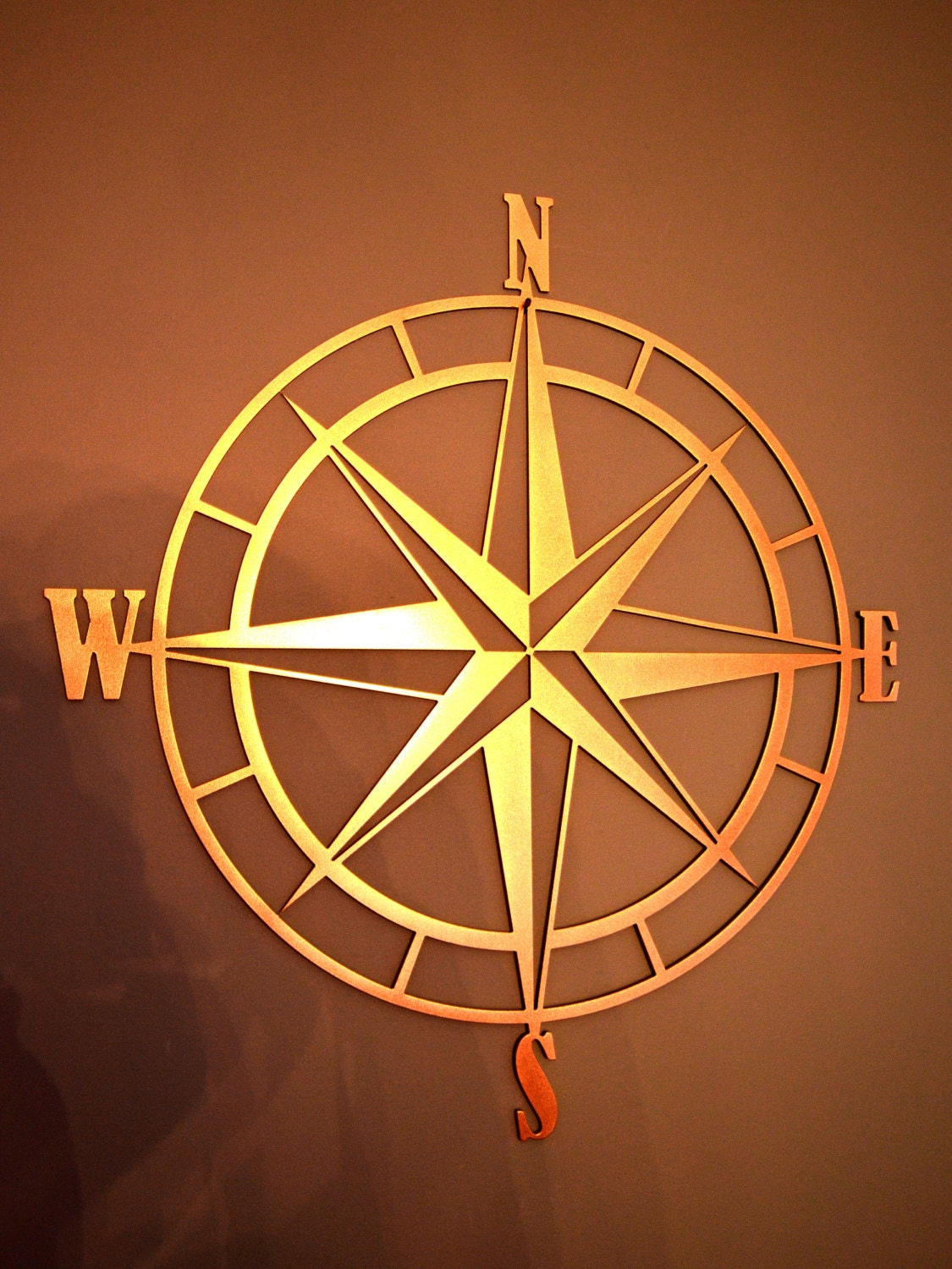 Nautical Compass Wall Decor : Nautical compass rose metal wall art by custommetalworx on