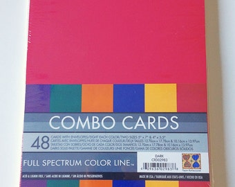 48 Cards w/Envelopes/8 Each Color/2 Sizes