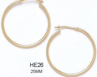 14k Solid Yellow Gold Hoop Earrings with a Hinge-Notched Post (Available in Multiple Sizes)
