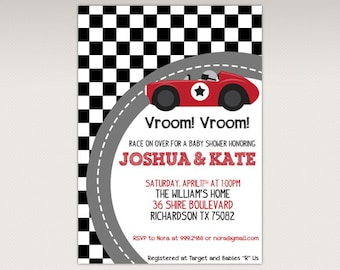 Vintage Red Racing Car  Baby Shower Party printable invitation - Race Car Baby Shower Invitations #422