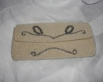 Cream clutch, evening clutch,  beaded pearl clutch, cream pearl clutch,evening bag,