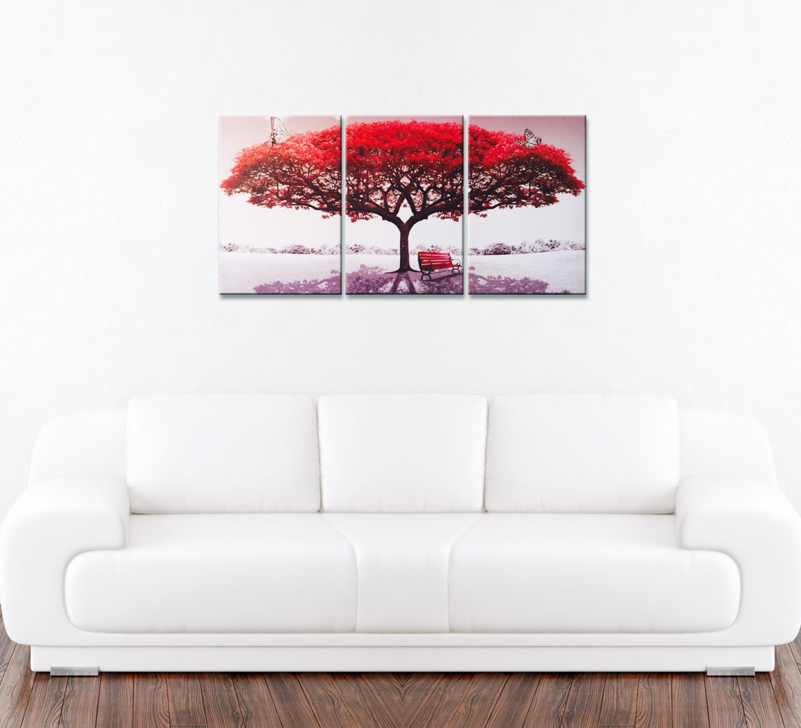 On sale now perfect piece amazing red blooming tree landscape new photography wall art print on - Decorative trees with red leaves amazing contrasts ...