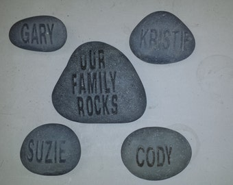 Our Family Rocks - 4 Custom Name Rocks and 1 Our Family Rocks