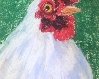 I See You!- small 5x7 original pastel painting chicken farm white hen art