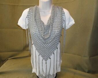 Grey crocheted scarf