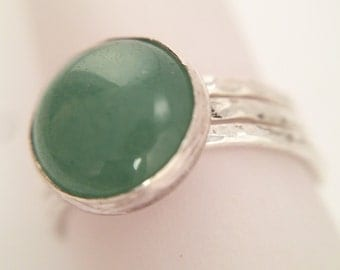 Stacked Hammered Silver Bands with 10mm Adventurine, Size 7.5