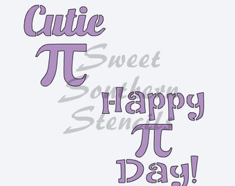 Cutie Pi and Happy Pi Day Stencil