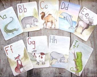 ABC Animal Alphabet Flash Cards, Nursery Art, Children's Educational Gift, Letter Wall Art, Waldorf Montessori Teacher, Classsroom Art