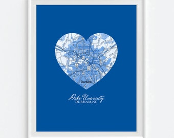 Duke Blue Devils Durham North Carolina Vintage Heart Map Art Print, Christmas gift for her