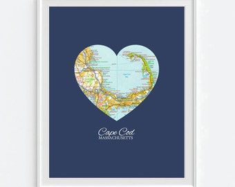Cape Cod Massachusetts Heart Vintage Map ART PRINT City map, Cape Cod beach art, gift, wedding gift, gift for couple, Christmas gift for her