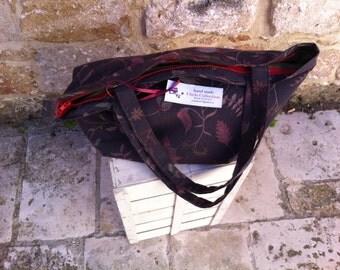 Large flowered fabric bag/handbag/purse/tote/coloured/handmade//