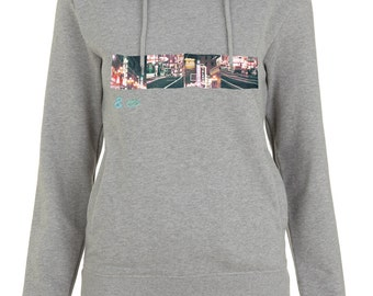 Organic fashion pullover hoody for women, with San Francisco vintage pictures screen print