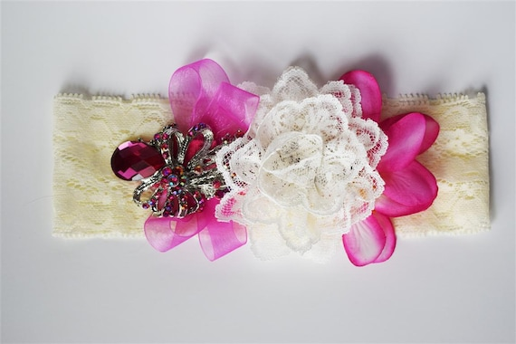Lace Headband with Fuschia Flowers, Ribbon, Rhinestone Brooch