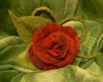 Felted brooch, dark red rose, merino wool