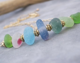 Sea Glass Necklace - Collar Style - Multi Color Sea Glass - Pink - Green - Blue - English - Beach Glass Jewelry
