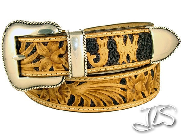 tooled leather belt carved custom western by jlsleather