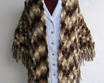 Brown varigated shawl with fringe