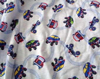 1 yard t-shirt knit blue with trucks and cars