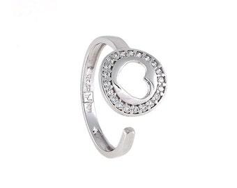 Heart ring, Delicate white gold ring 14k