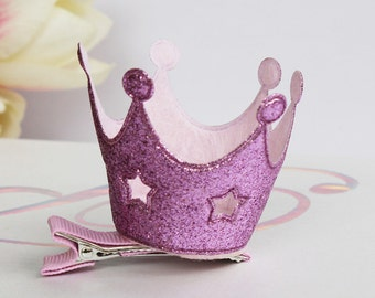 Glittered Princess Crown hair clip (Great for Christmas)