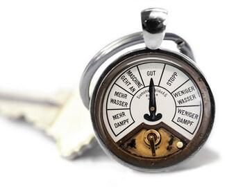 Steampunk keyring Meter keyfob Geek keychain