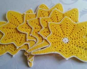 Crochet Coasters, Set of 6 Leaf Coasters, Kitchen Table Decoration, Gift Idea