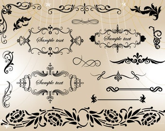 Instant Download Flourish Swirl Frame Border Clipart Scrapbook Embellishment Digital Frame Ornate Clip Art Frame Border Decor Element 0002