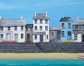 Harbourside - Framed Original Acrylic Painting - 67 x 31cm