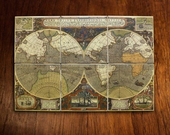 Antique World Map Mural ca. 1595