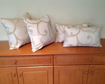 Cream patterned/textured cushion