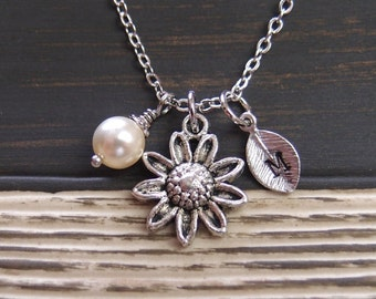 initial necklace, silver daisy necklace, Swarovski cream pearl, long necklace option, bridesmaids gifts, blooming flower, flower girl gift