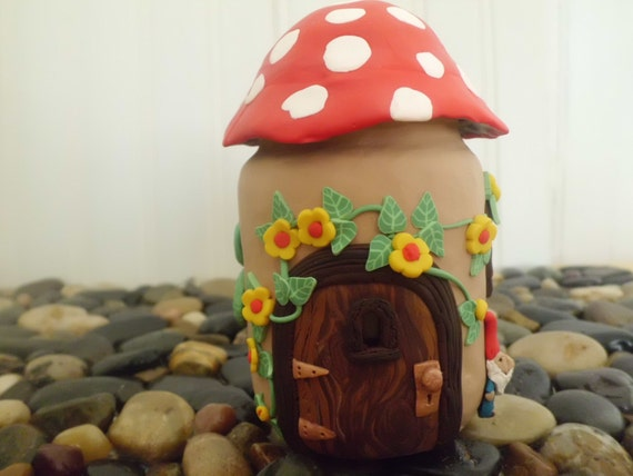 Fairy House Jar Candle Holder Trinket Jar With Gnome And