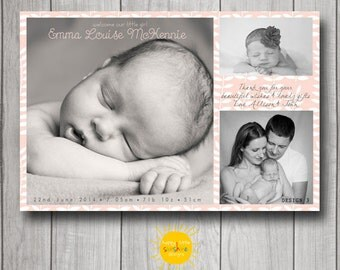 Personalised Girl Announcement Photo Printable Modern Butterfly Multiple Photos