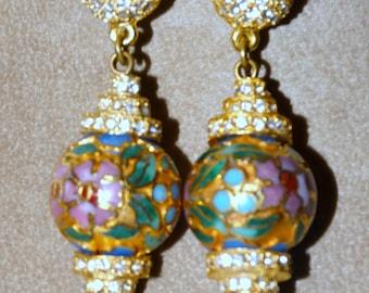 Vintage Cloisonne / Rhinestone/  Earrings.