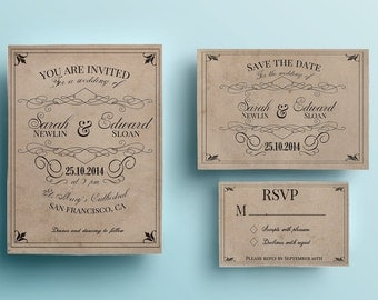 Vintage wedding invitation template, rustic wedding invitation design, printable wedding invitation instant download premade retro blue