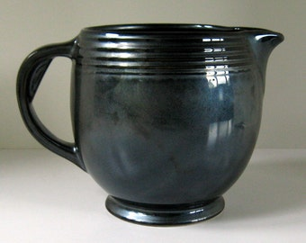 """1980's Large HALL PITCHER """"PEWTER"""" Irridescent Glaze Bulbous Form New - Never Used"""
