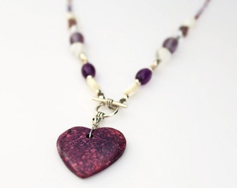 Purple Heart Necklace with toggle clasp