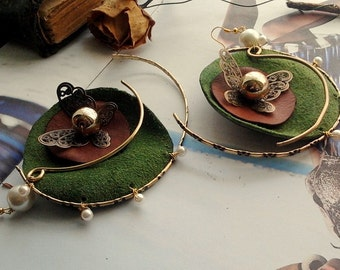 Handmade earring of leather with butterflies