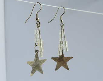 Metal Star Charm Earrings with Clear Glass Beads