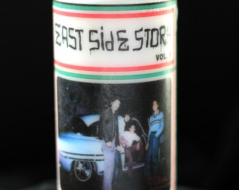 Oldies Are Forever East Side Story Printed White Unscented Pillar Candle